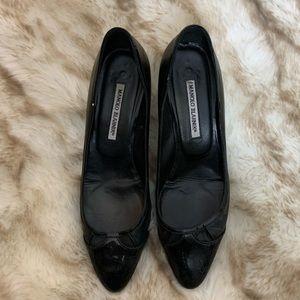 Manolo Blahnik Black Kitten Heels, sz. 10